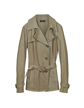 Beige Leather Trench Coat