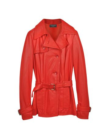Lux-ID 307120 Red Leather Trench Coat
