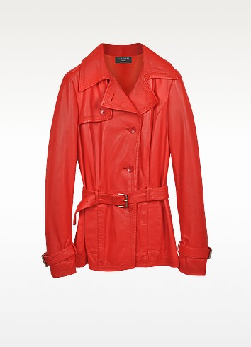 Red Leather Trench Coat - Forzieri