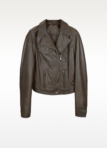 Brown Leather Motocycle Jacket - Forzieri