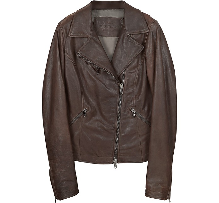 Brown Leather Motorcycle Jacket - Forzieri