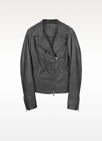 Black Leather Motorcycle Jacket - Forzieri
