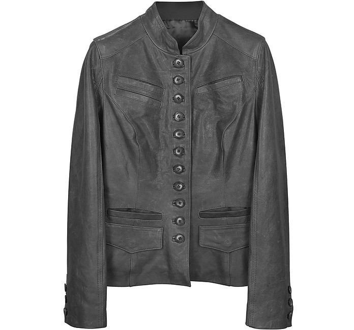 Black Mandarin Collar Leather Jacket - Forzieri