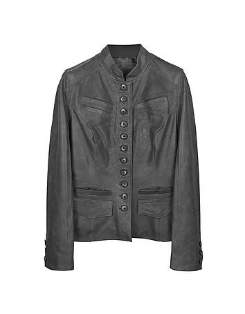 Forzieri - Black Mandarin Collar Leather Jacket