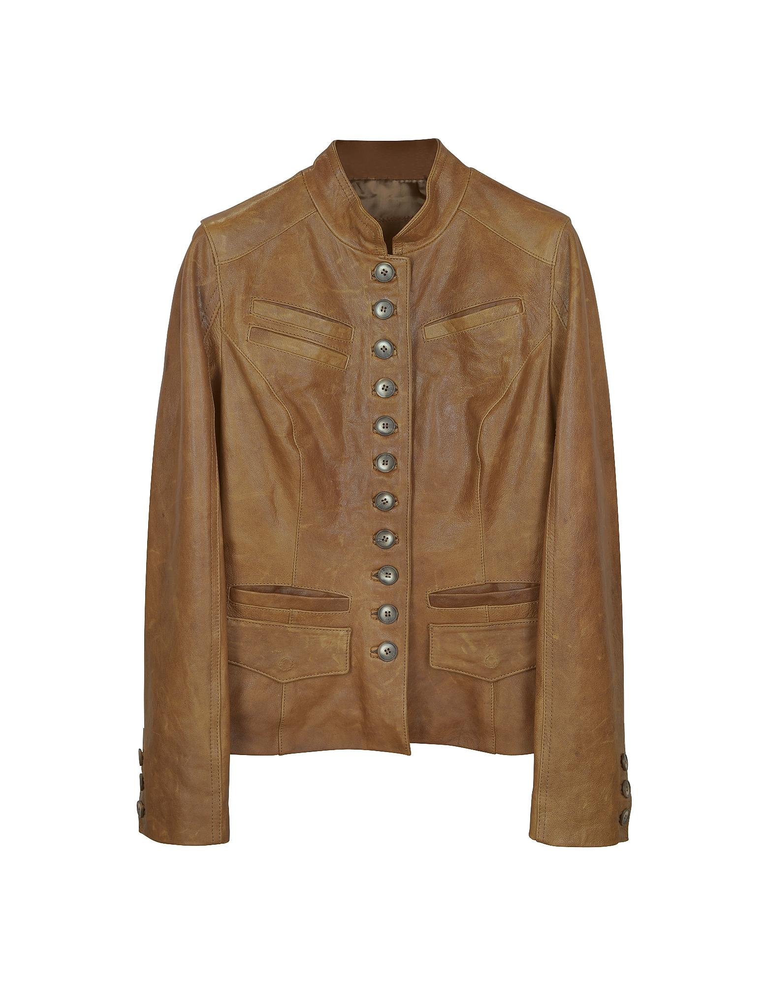 Светло-коричневая Кожаная Куртка с Воротником-Стоечкой