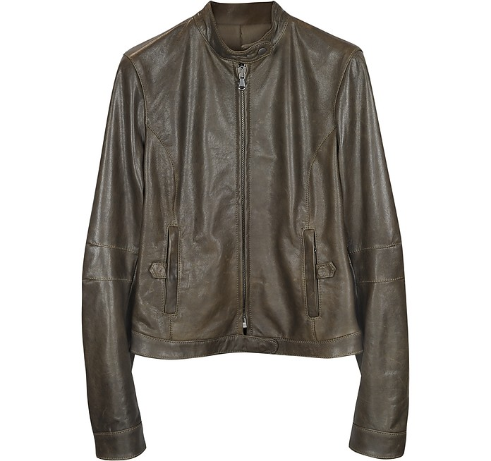 Brown Leather Band Collar Motorcycle Jacket - Forzieri