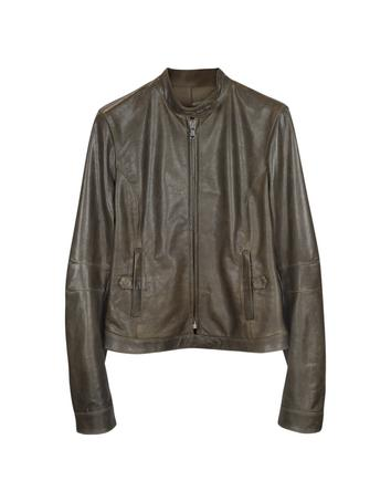 Lux-ID 307084 Brown Leather Band Collar Motorcycle Jacket