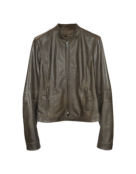 Forzieri Brown Leather Band Collar Motorcycle Jacket