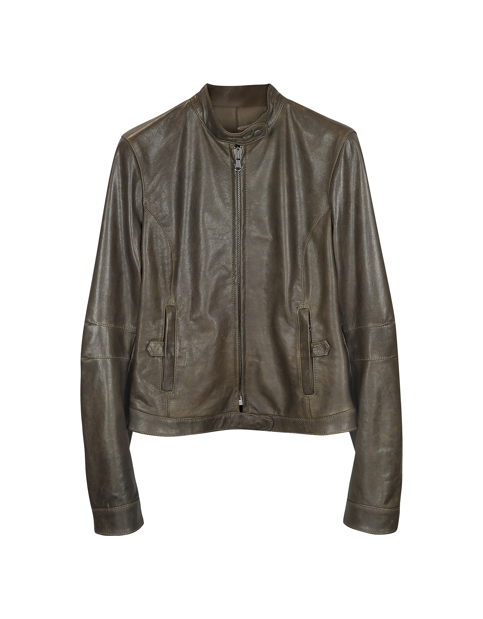 Brown Leather Band Collar Motorcycle Jacket