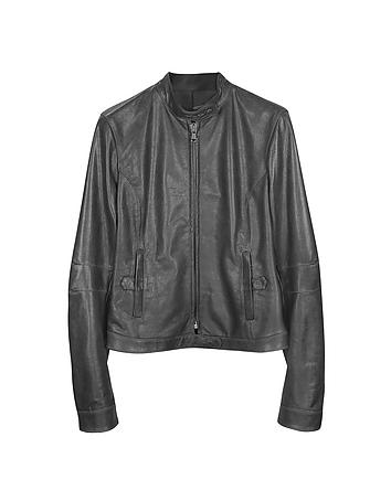 Black Leather Band Collar Motorcycle Jacket