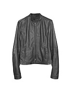 Lux-ID 208512 Black Leather Band Collar Motorcycle Jacket