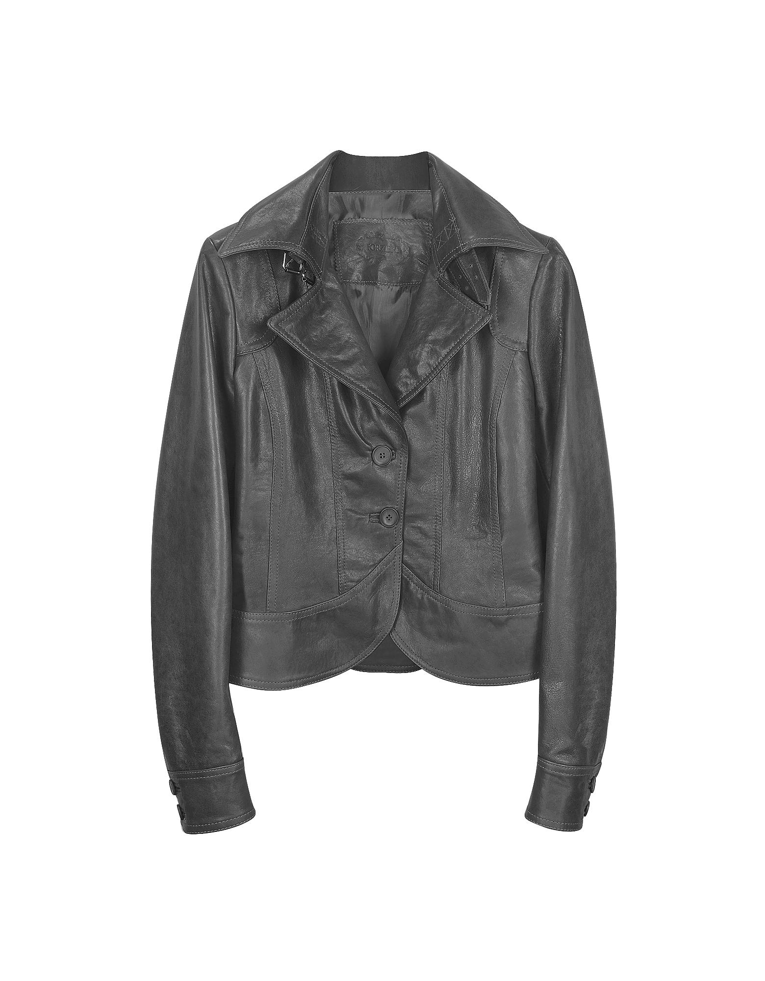 Черная Кожаная Куртка с Двумя Пуговицами