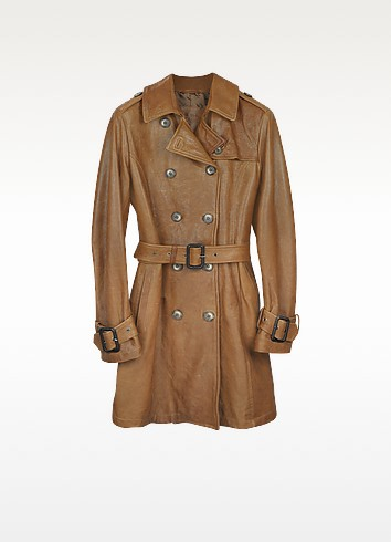 Brown Leather Belted Trench Coat - Forzieri
