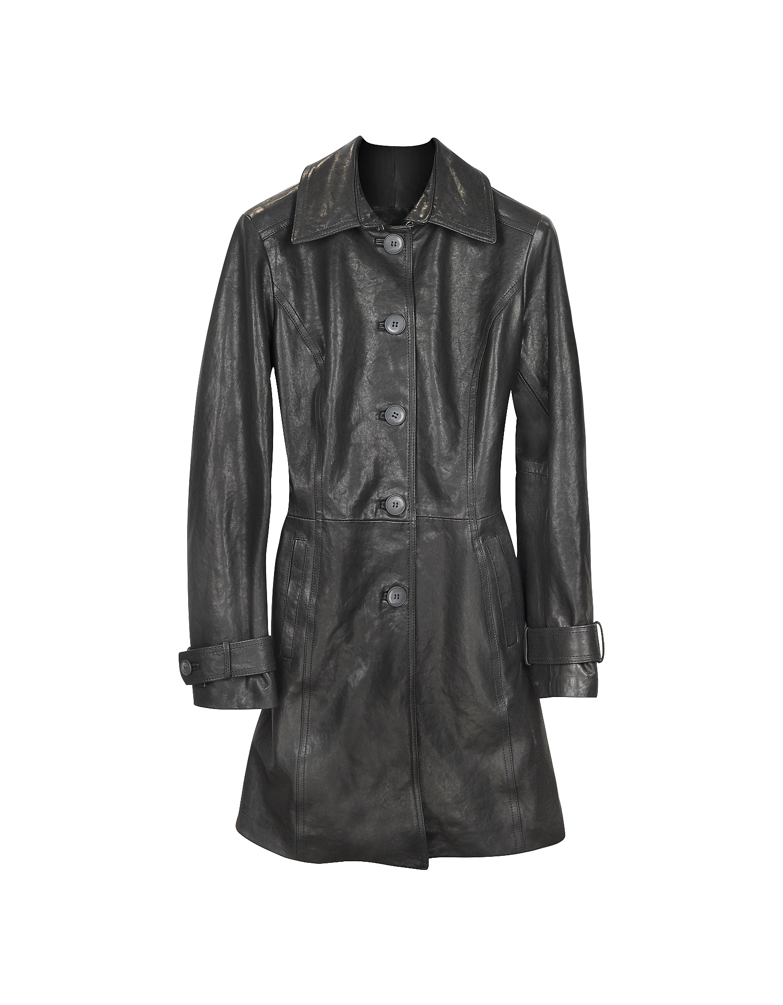 Черное Кожаное Пальто Тренч с Поясом