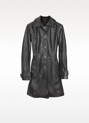 Black Leather Trench Coat - Forzieri