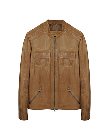 Light Brown Leather Motorcycle Jacket