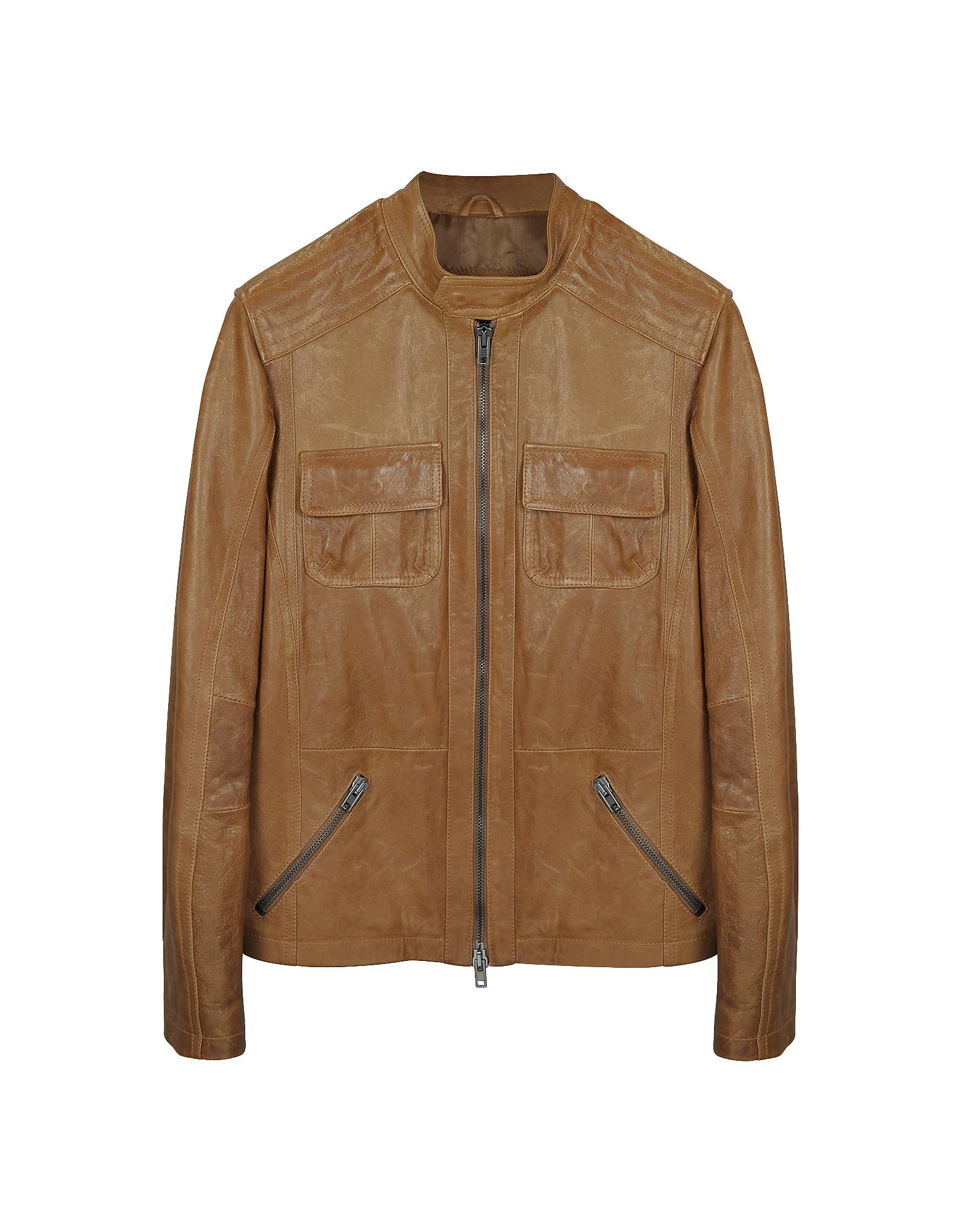 Светло-коричневая Кожаная Куртка в Мото Стиле