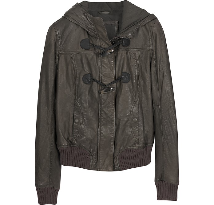 Brown Hooded Leather Jacket - Forzieri