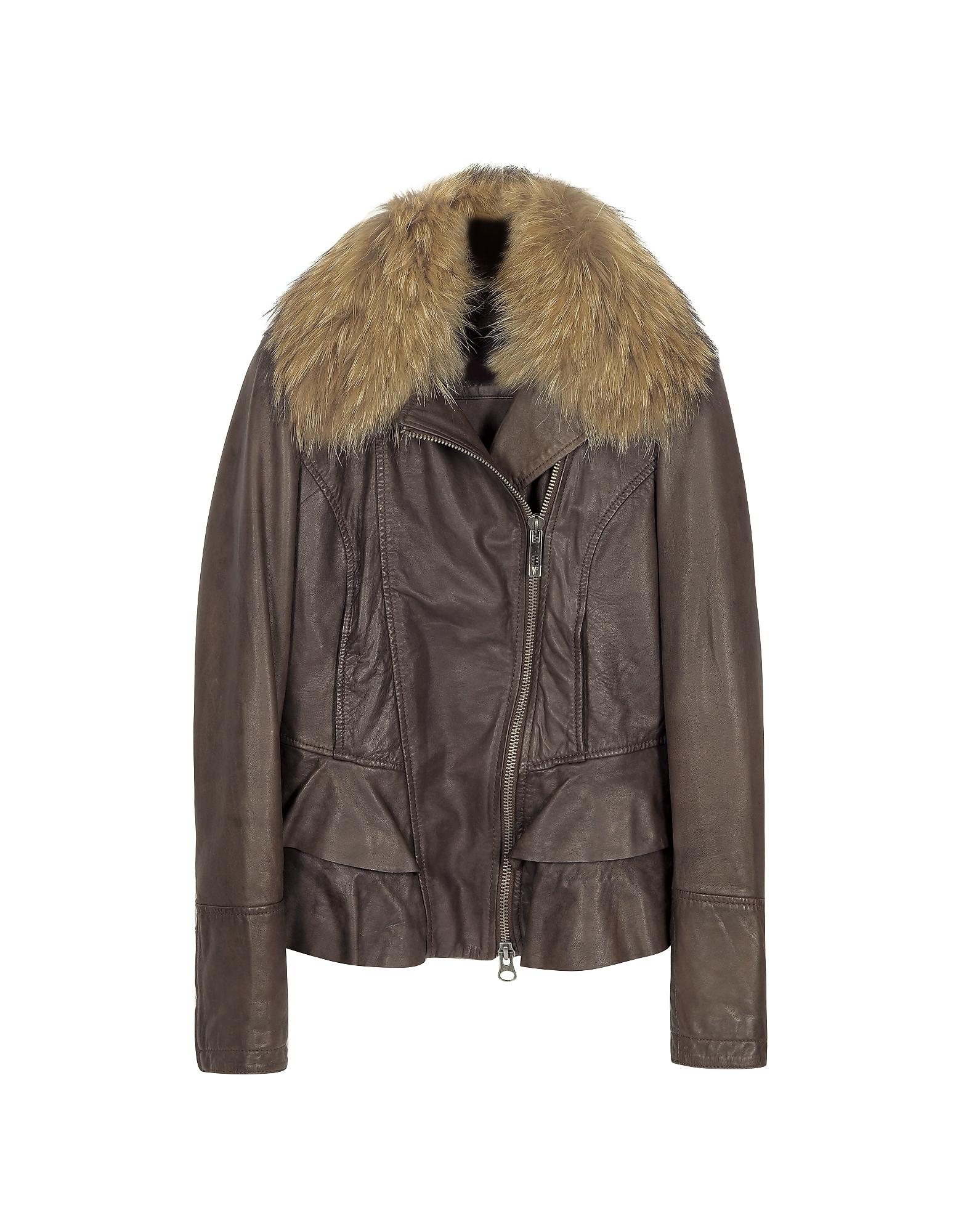 Темно-коричневая Кожаная Куртка с Асимметричной Молнией