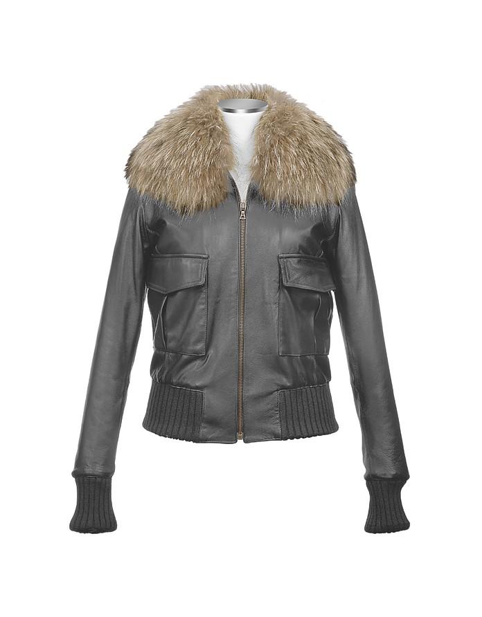 Women's Fur Collar Black Italian Leather Jacket - Forzieri