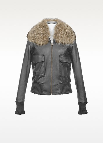 Women's Fur Collar Black Italian Leather Jacket - Forzieri
