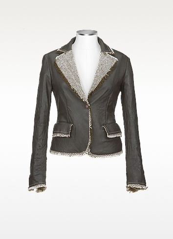 Women's Dark Brown Embroidered Washed Leather Jacket - Forzieri