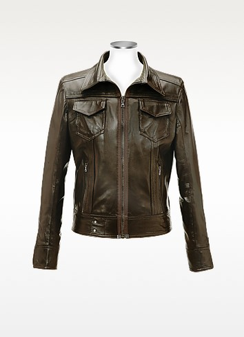 Dark Brown Italian Leather Motorcycle Jacket - Forzieri