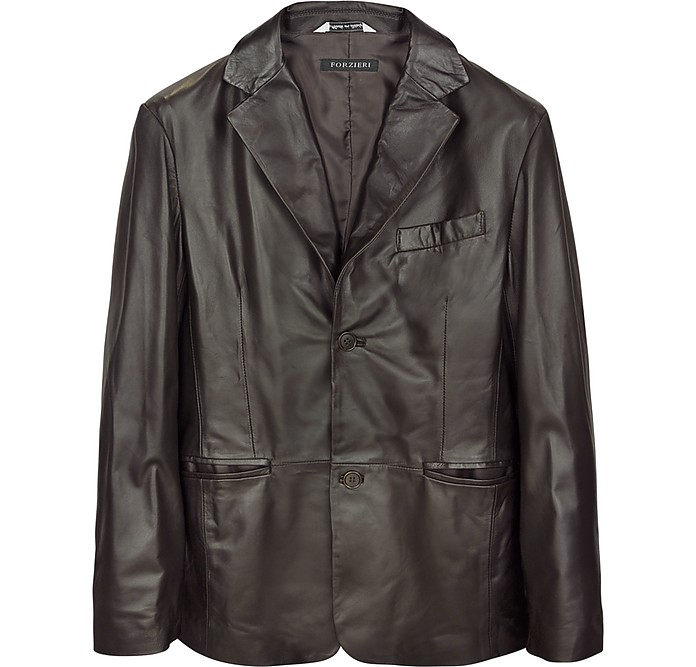 Dark Brown Italian Leather Blazer - Forzieri