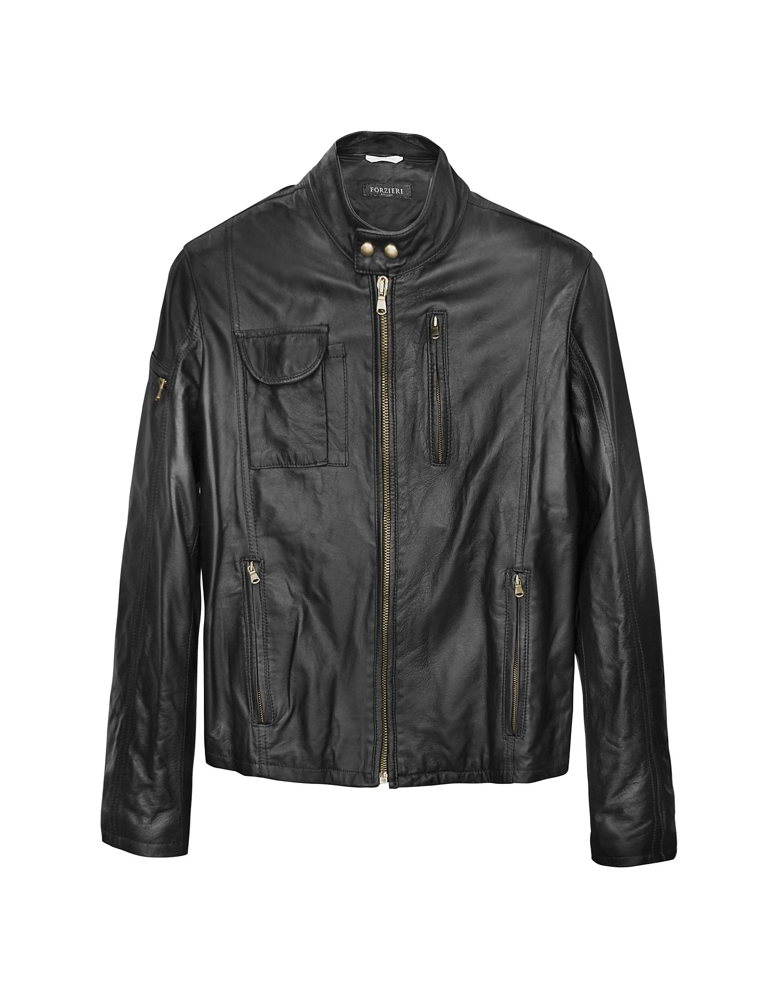 Итальянская Черная Кожаная Куртка в Мото Стиле