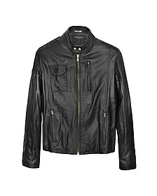Итальянская Черная Кожаная Куртка в Мото Стиле - Forzieri