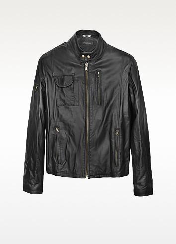 Black Italian Leather Motorcycle Jacket - Forzieri