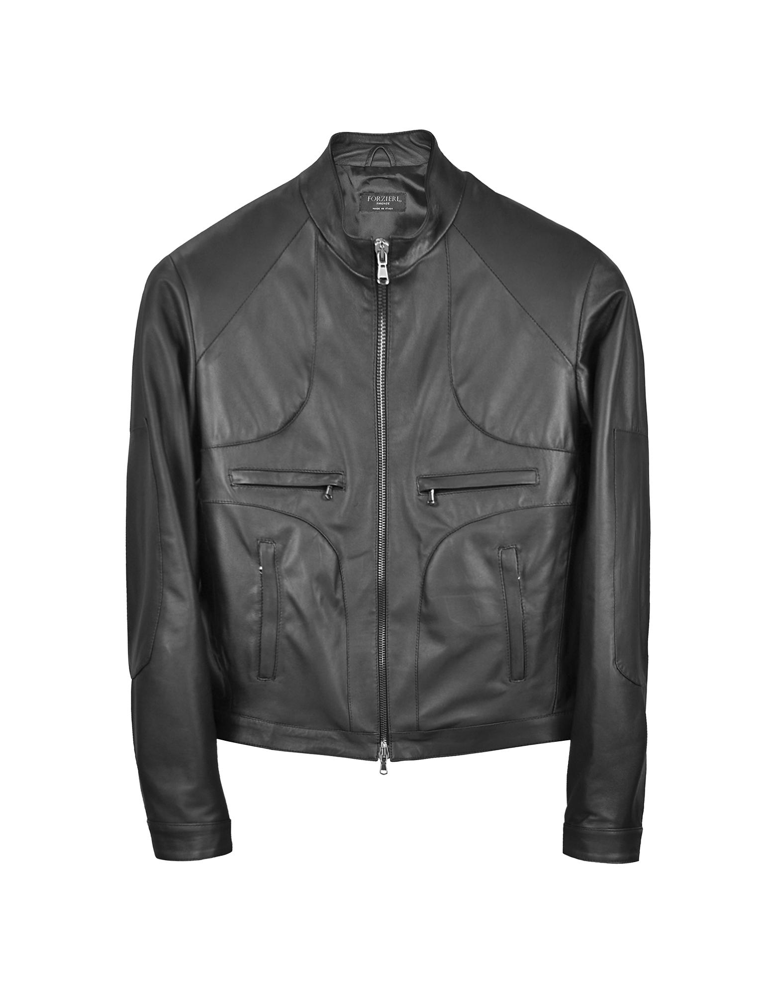 Итальянская Черная Кожаная Куртка в Мото Стиле на Молнии
