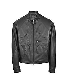 Итальянская Черная Кожаная Куртка в Мото Стиле на Молнии - Forzieri