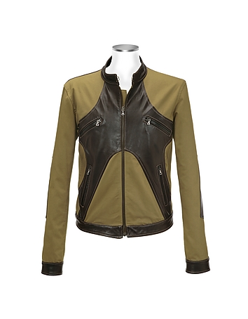 Brown & Olive Italian Leather and Cotton Motorcycle Jacket