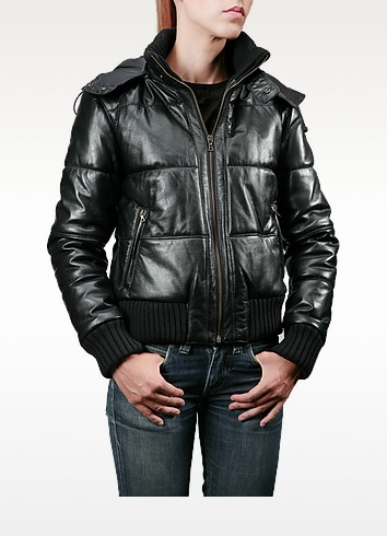 Women's Black Leather Hooded Bomber Jacket - Forzieri