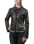 Women's Coats - Women's Dark Brown Embroidered Washed Leather Jacket