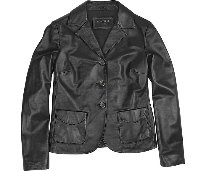 Black Genuine Italian Leather Jacket - Forzieri