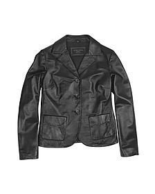 Black Genuine Italian Leather Jacket - Forzieri