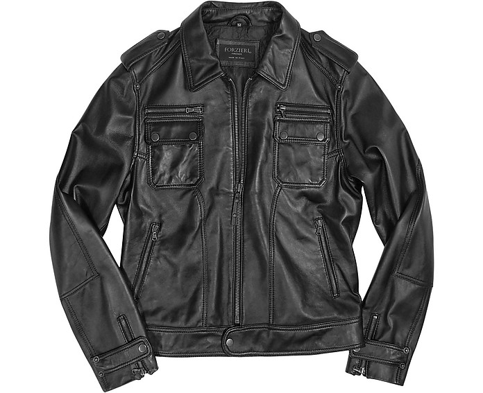 Black Genuine Italian Leather Motorcycle Zip Jacket - Forzieri