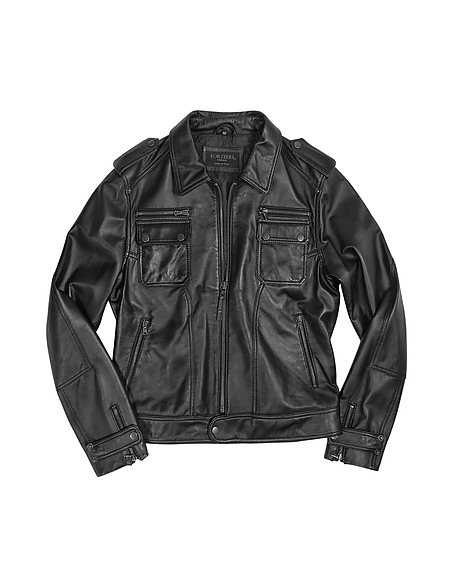 Forzieri Giacca Motorcycle Style in Pelle Nera