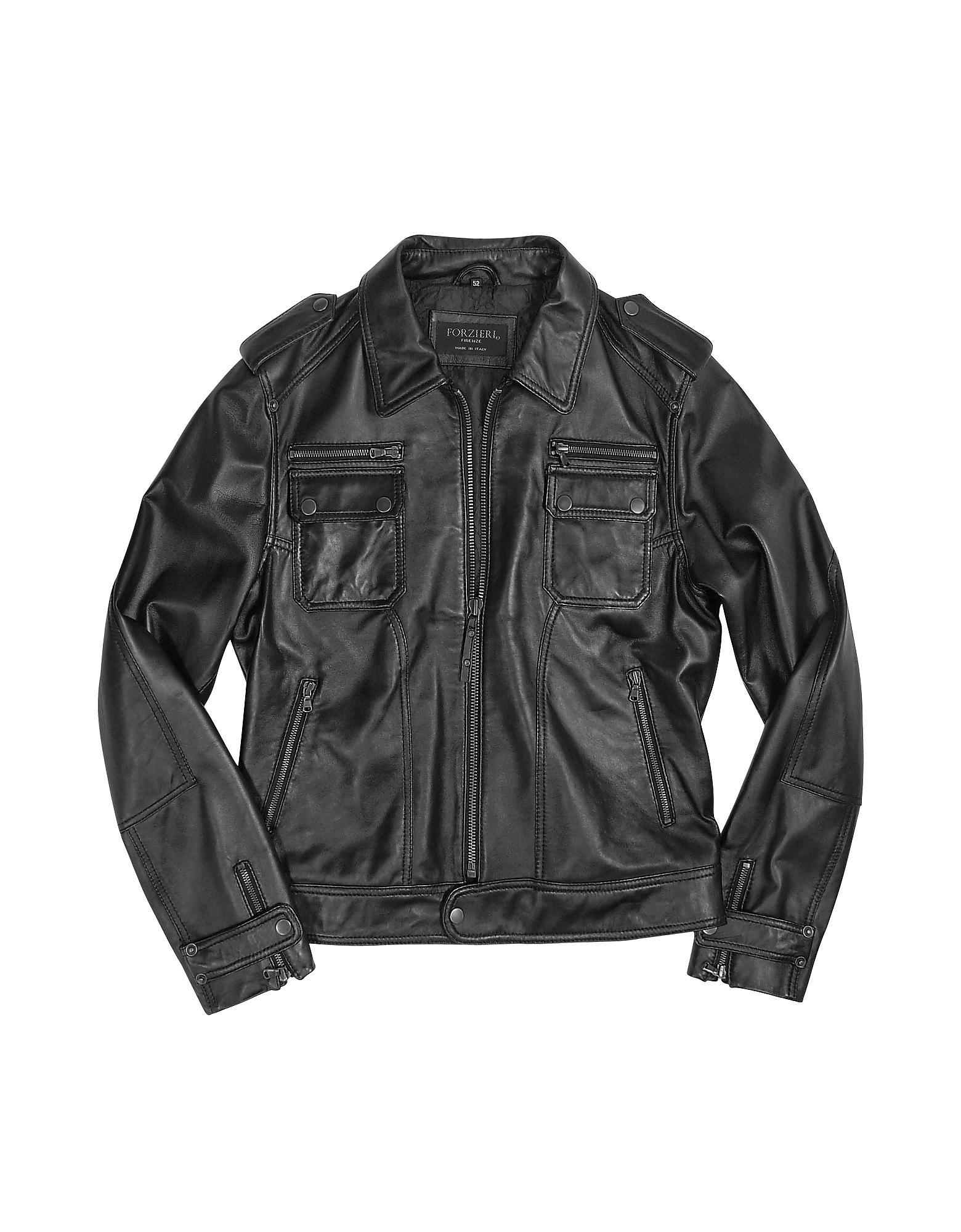 Итальянская Черная Куртка  из Натуральной Кожи на Молнии в Мото Стиле