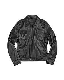Итальянская Черная Куртка  из Натуральной Кожи на Молнии в Мото Стиле - Forzieri