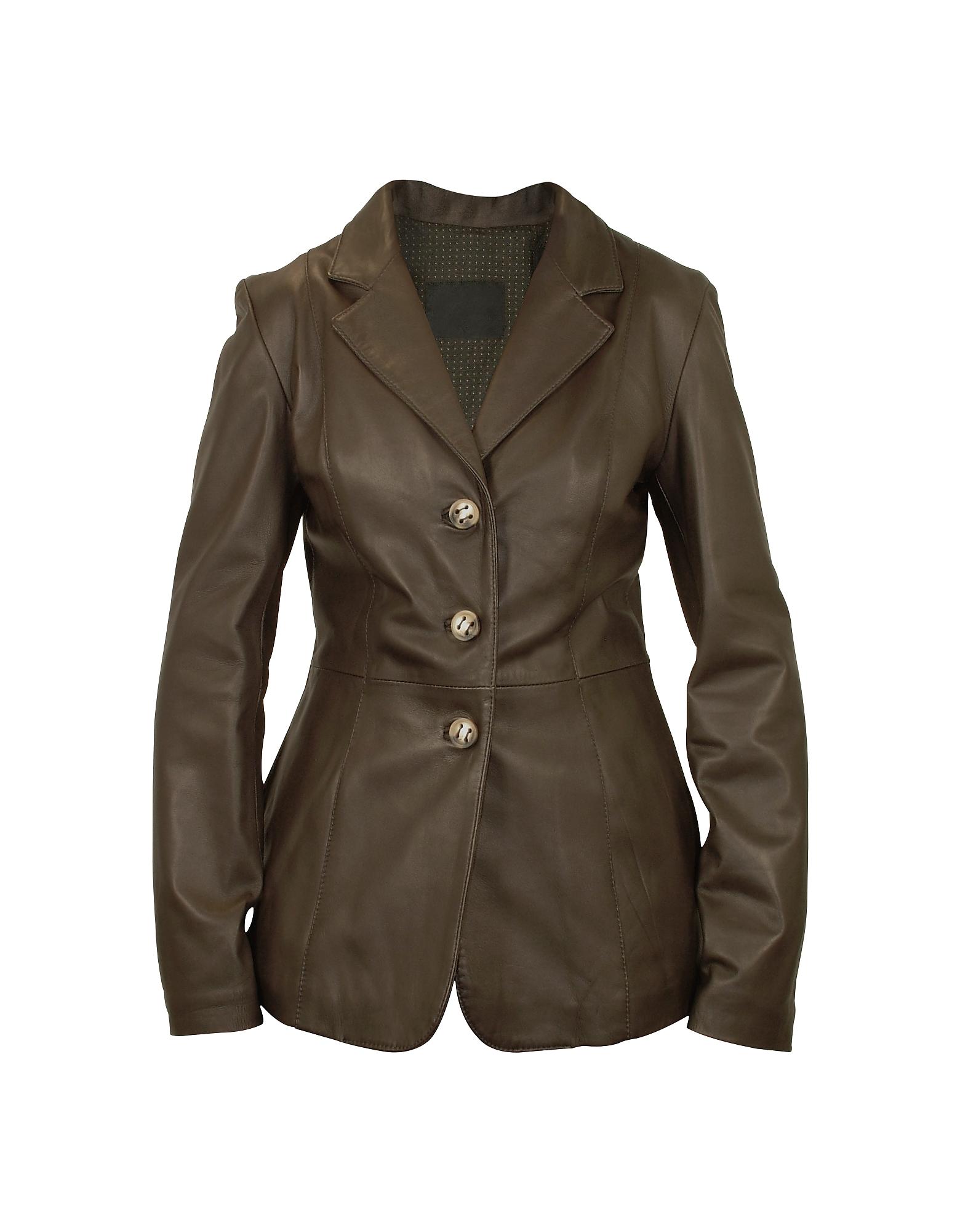 Forzieri Темно-коричневая Женская Кожаная Куртка на Трех Пуговицах