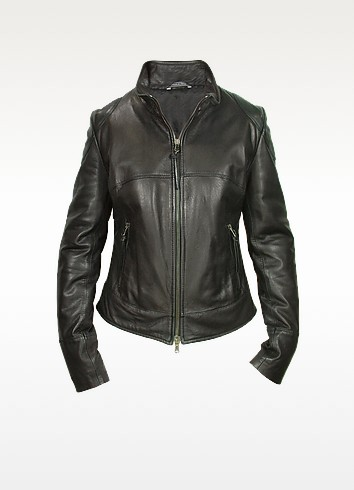 Black Natural Leather Motorcycle Jacket - Forzieri