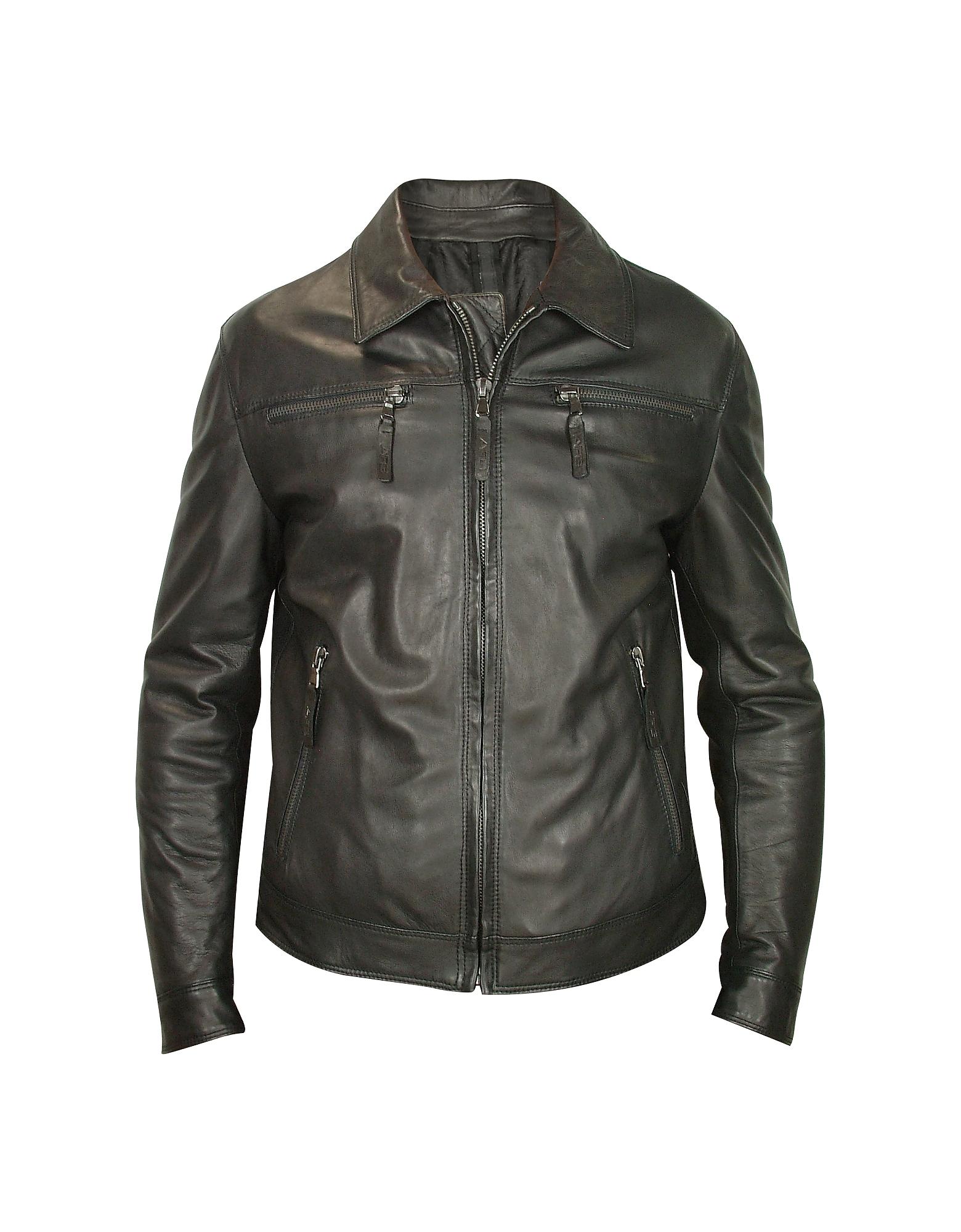 Черная Мужская Куртка из Натуральной Кожи на Молнии