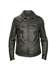 Черная Мужская Куртка из Натуральной Кожи на Молнии - Forzieri