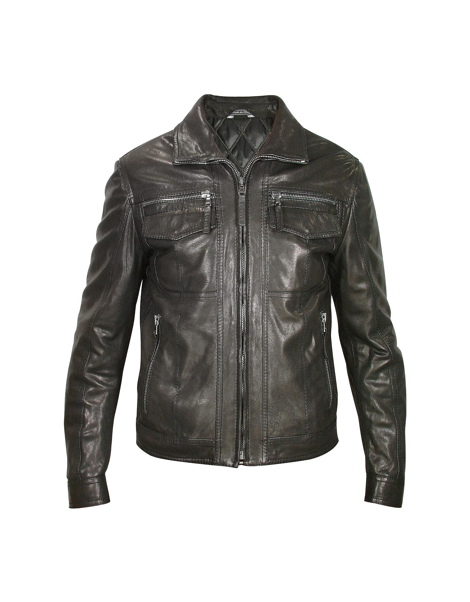 Forzieri Черная Мужская Куртка из Натуральной Кожи в Мото Стиле