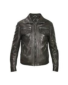 Черная Мужская Куртка из Натуральной Кожи в Мото Стиле  - Forzieri
