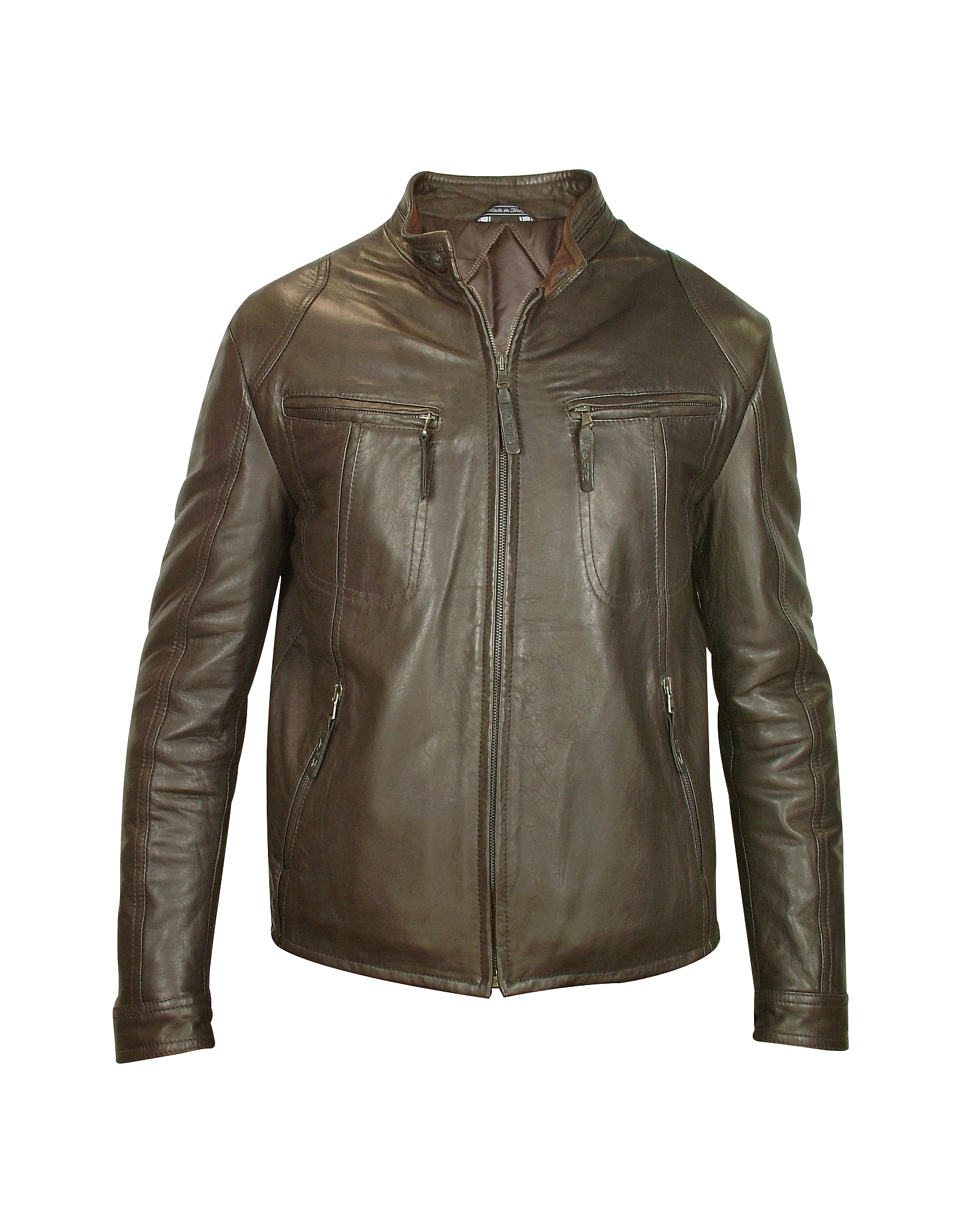 Forzieri Leather Jackets, Men's Dark Brown Genuine Leather Motorcycle Jacket