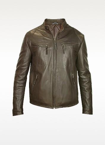 Forzieri Темно-коричневая Мужская Куртка из Натуральной Кожи в Мото Стиле